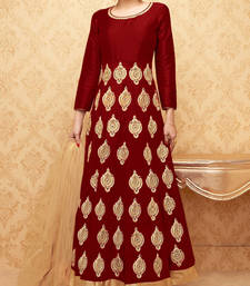 Buy Maroon embroidered banglory silk stitched salwar with dupatta readymade-suit online