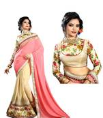 Buy Pink embroidered georgette saree with blouse