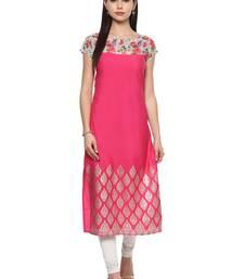 Buy Magneta stitched Crepe  stitched kurti long-kurtis online