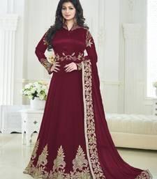 Buy Maroon embroidered georgette unstitched salwar with dupatta party-wear-salwar-kameez online
