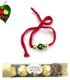 Buy Red n Green Jewel Rakhi With Chocolate  jeweled-rakhi online