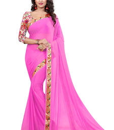 Buy Pink plain nazneen saree with blouse party-wear-saree online