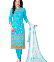 Buy Blue embroidered cotton semi stitched salwar with dupatta ready-to-ship-salwar-kameez online