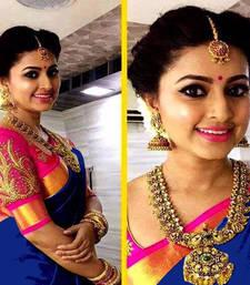 Buy Blue printed chanderi saree with blouse chanderi-saree online