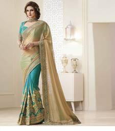 Buy Blue embroidered nylon saree with blouse heavy-work-saree online