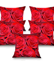 Buy Red Rose HD Digital Premium Cushion Cover - Set of 5 (16 x 16 Inch) cushion-cover online