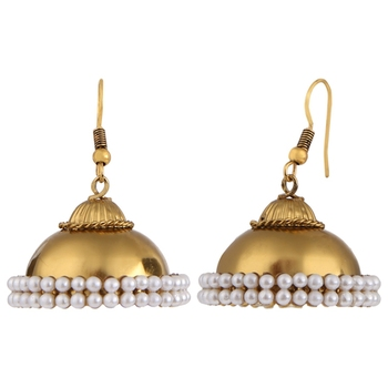 Gold Plated Pearl Traditional Jhumka Jhumki Earrings for Girls and Women
