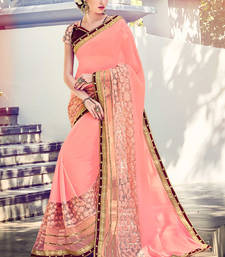 Buy Baby pink embroidered chiffon saree with blouse eid-saree online