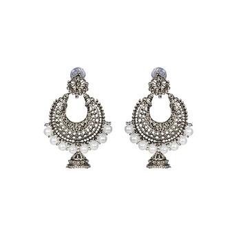 Silver Chandbali Jhumka Pearl Earrings