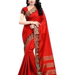 Buy Red hand woven banarasi silk saree with blouse banarasi-silk-saree online