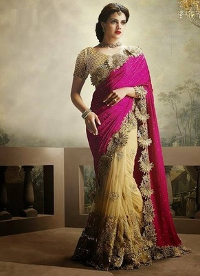 Pink embroidered Chiffon saree with blouse  Purple embroidered Georgette saree with blouse  (Best Quality)