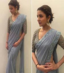 Buy Grey plain georgette saree with blouse anushka-sharma-saree online