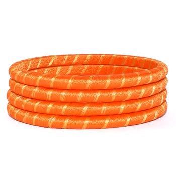 Handcrafted  orange silk thread bangle 2.6 (4 pcs)