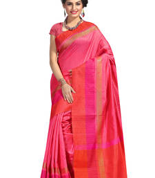 Buy multicolor woven tussar silk saree with blouse black-friday-deal-sale online