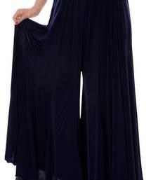 Buy Navyblue plain lycra fabric free size palazzo pants palazzo-pant online
