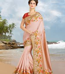 Buy Pink embroidered silk saree with blouse designer-embroidered-saree online