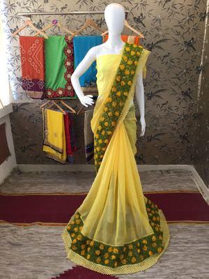 Yellow ribbon flower chiffon saree with blouse