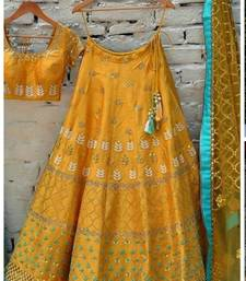Buy Yellow embroidered banglory silk unstitched lehenga lehenga-choli online
