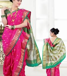 Buy pink woven poly cotton silk traditional nauvari-saree Woman online