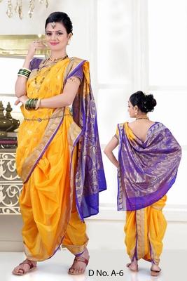 Yellow woven poly cotton silk traditional nauvari-saree