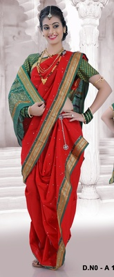 Red woven poly cotton silk traditional nauvari-saree