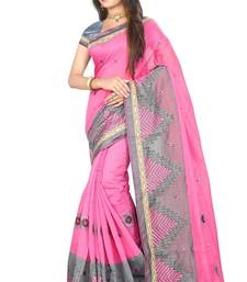 Buy Pink embroidered cotton saree with blouse cotton-saree online