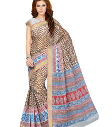 Buy White printed cotton saree with blouse cotton-saree online