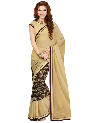 Beige printed faux chiffon saree with blouse
