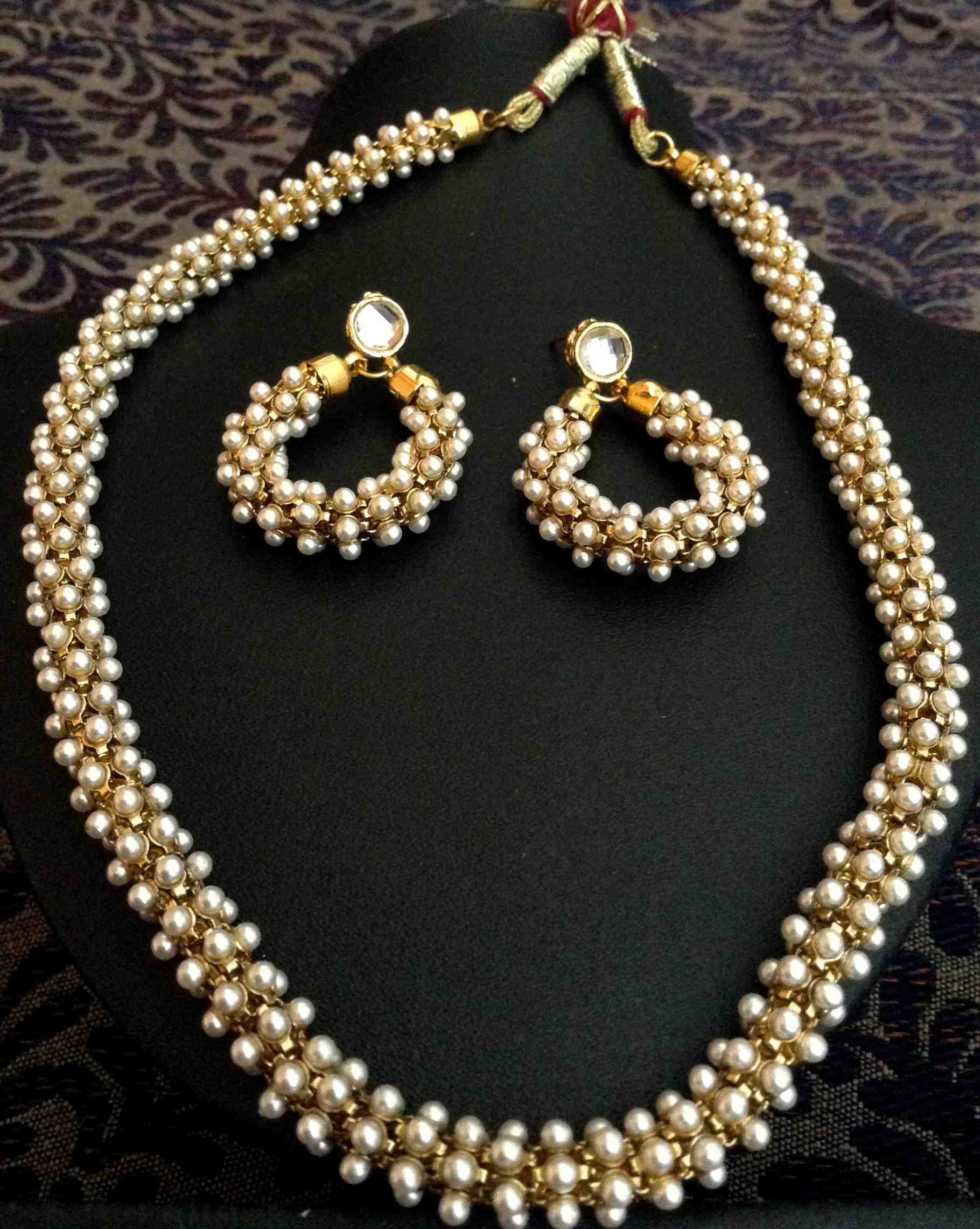 necklace online chandni designer girl buy beautiful indian designs metal in pearl woven pearls designers dancing necklaces jewellery set golden m original