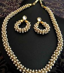 Buy Beautiful Chandni Pearls Woven in Golden Metal Indian Pearl Necklace Set d20 necklace-set online