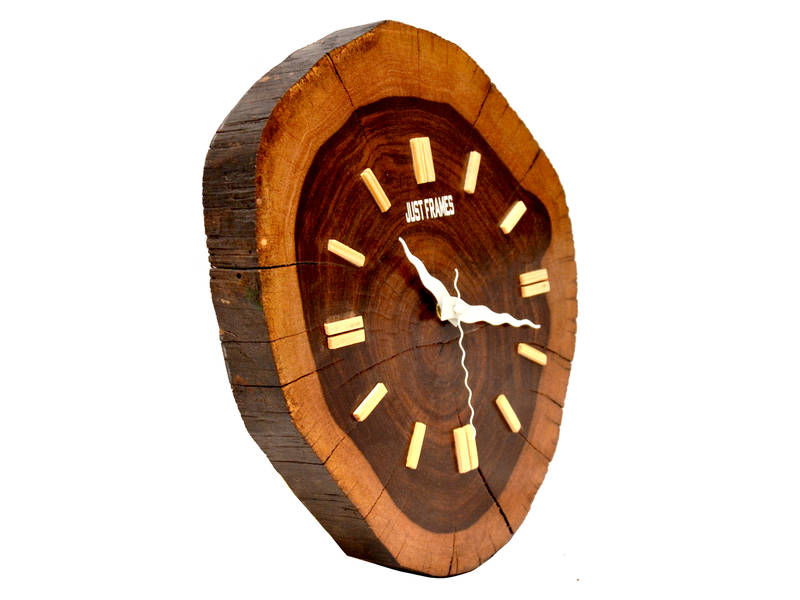 Buy Hand Crafted Antique Round Shape Wooden Wall Clock Online