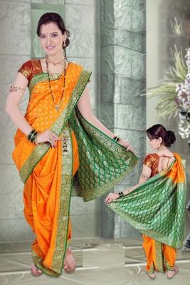 Yellow woven cotton poly nauvari-saree