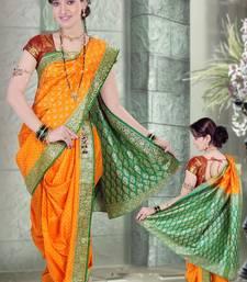 Buy Yellow woven cotton poly nauvari-saree nauvari-saree online