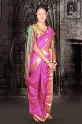 Pink woven cotton poly nauvari-saree