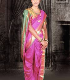Buy Pink woven cotton poly nauvari-saree Woman online