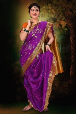 Purple woven cotton poly nauvari-saree