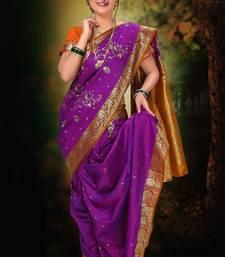 Buy Purple woven cotton poly nauvari-saree Woman online