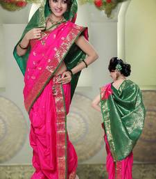 Buy Pink woven cotton poly nauvari-saree nauvari-saree online