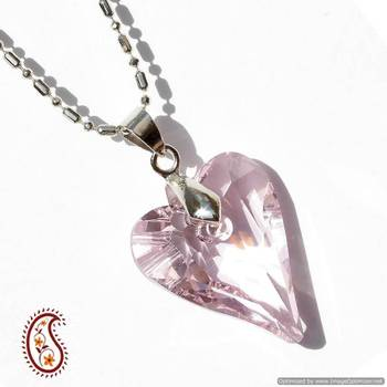 Light Pink Heart Crystal Pendant