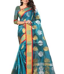 Buy Turquoise plain tissue saree with blouse tissue-saree online