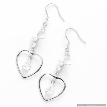 Heart Drop CZ Hoop Earrings