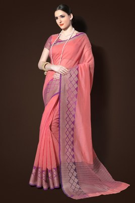salmon woven chanderi saree with blouse