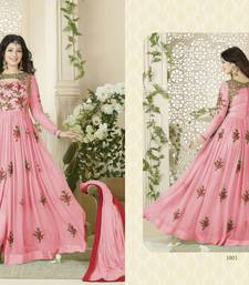 Buy pink embroidered georgette semi stitched salwar with dupatta abaya-suit online