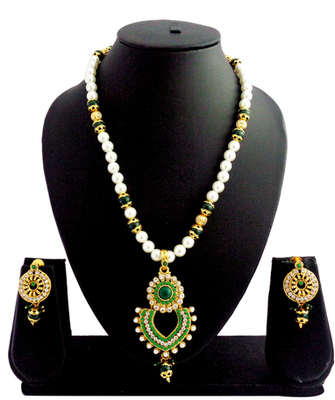 Green pearl delicate pendant necklace set
