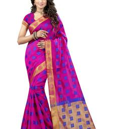 Buy Magenta woven poly cotton saree with blouse cotton-saree online