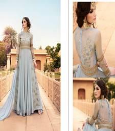 Buy Light grey stone georgette semi stitched salwar with dupatta silk-georgette-salwar online