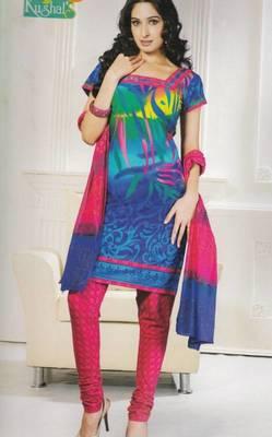 Dress Material Cotton Printed With Chiffon Dupatta Unstitched Suit D.No 106