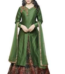 Buy Green embroidered banarasi silk semi stitched salwar with dupatta party-wear-salwar-kameez online