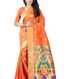 Buy Orange woven paithani art silk saree with blouse paithani-saree online