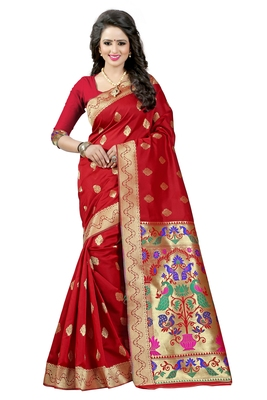 Red woven paithani art silk saree with blouse